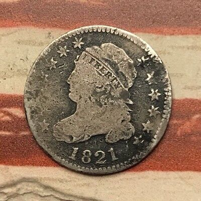 1821 10C Capped Bust Dime 90% Silver Vintage US Coin #HW60