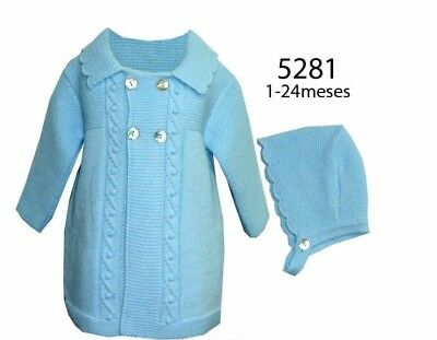 Alber Baby Romany Style Spanish Long Knitted Pram Coat Cardigan & Bonnet