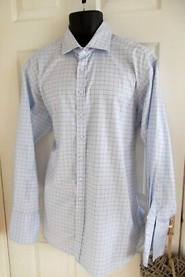 "Mens Hackett 44"" chest 17.5 collar blue check cotton shirt, double cuffs"