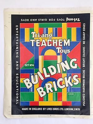 Rare 1940s Large Proof Packaging Label Triang Toy Company Building Bricks