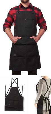 Work Apron with Tool Pockets Heavy Duty Waxed Canvas Black Extra Large Unisex