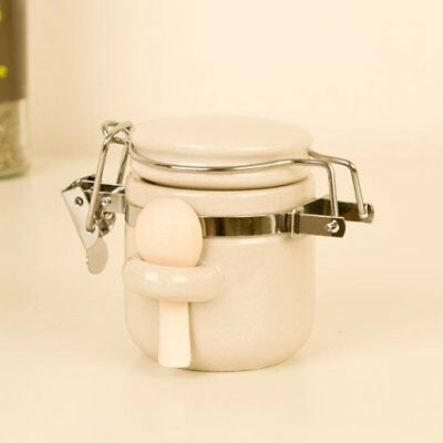 Small Clip Canister Jar with Wooden Spoon Scoop - perfect for dry ingredients or