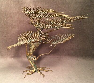 Vintage Mid Century Brutalist Metal Bonsai Tree Art Sculpture