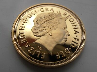 2015 Queen Elizabeth ii 22ct Gold Plated Full Sovereign Uk Britain Collectors