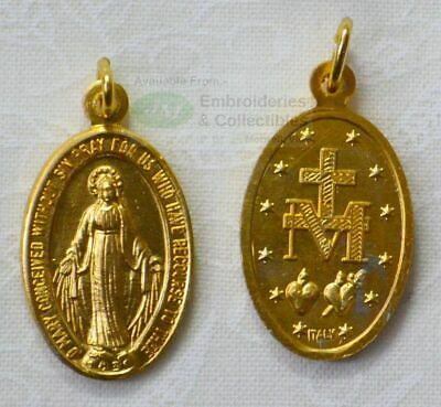 Miraculous Medal Pendant, 22 x 15mm Gold Tone, Made In Italy Quality