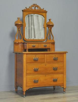 Antique Edwardian Arts & Crafts Walnut Dressing Table Chest Of Drawers