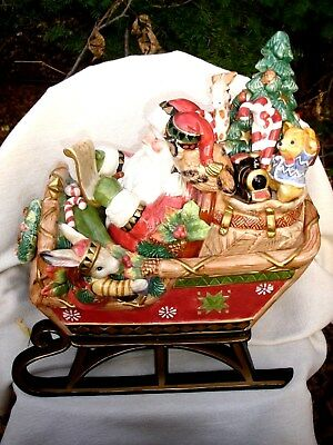 Vintage Outstanding Fritz and Floyd Santa and his Sleigh Cookie Jar – NR