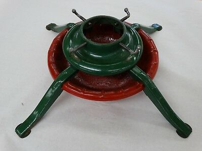 "Vintage 1950's Heavy  Metal Christmas Tree Stand Red & Green 4 1/2"" Dia Trunk"
