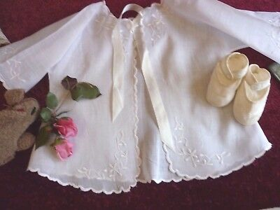 Dainty Vintage Fine Muslin Embroidered Baby Jacket & Silk Shoes Good Condition.