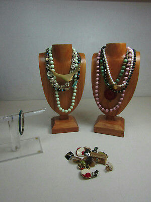Vintage Costume Jewelry Lot Gold Tone Necklaces Earrings Clip-On Sparkle AS IS