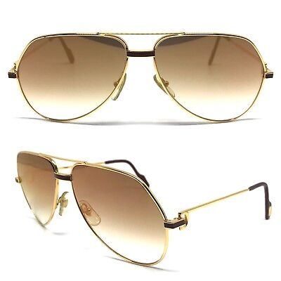 OCCHIALI CARTIER VENDOME RED LAQUE VINTAGE SUNGLASSES GOLD PLATED 1980's