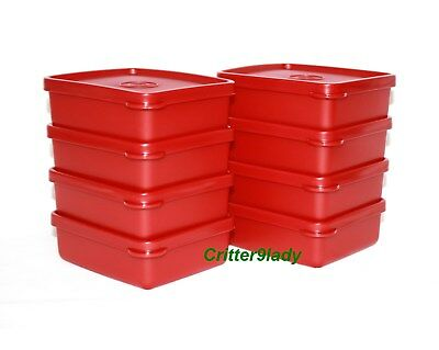 NEW Tupperware Lot of 8 Mini Square Aways in Christmas Holiday Red