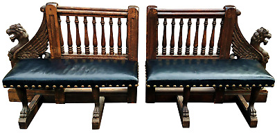 PAIR Antique 19th C AMERICAN Herter Brothers Style OAK Carved GRIFFIN BENCHES