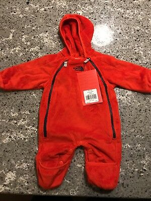 Baby Infant North Face Fleece Buttery Bunting One Piece 0-3 Months Fiery red