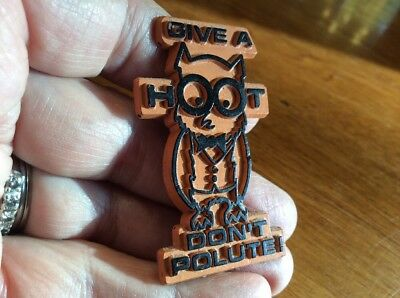 """Vintage WOODSY OWL """"Give a Hoot, Don't Pollute"""" Refrigerator Magnet"""