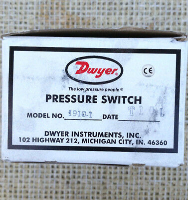 """Dwyer 1910-1 Differential Pressure Switch (0.40-1.6""""w.c.)  **NEW IN BOX**"""