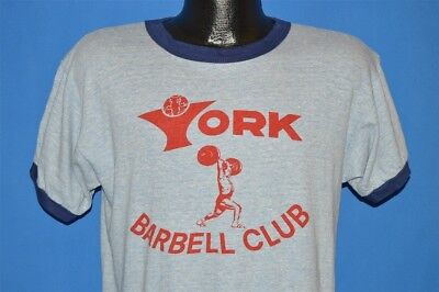 vintage 70s YORK BARBELL CLUB BLUE BAR CHAMPION RINGER HEATHERED t-shirt LARGE L