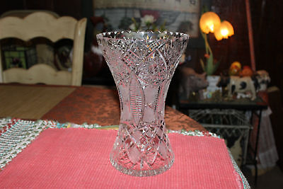 Antique Elegant Brilliant Cut Glass Vase-Saw Tooth Top-Multiple Patterns-Clear