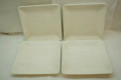 ERPHILA GERMANY PLATES SET 4 EMBOSSED LINES RIBBED WHITE SQUARE SALAD 7-5/8in d