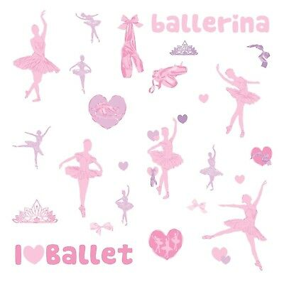 BALLET 30 BiG Glittery Wall Stickers BALLERINA Dance Room Decor Vinyl Decals NEW