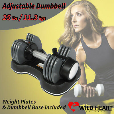 Adjustable Dumbbell 25 lbs 11.3 kgs Weight Home Gym Fitness Power Exercise Equip
