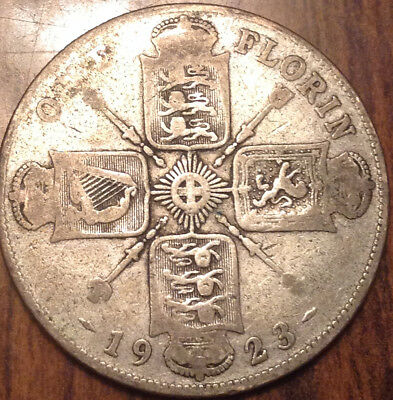 1923 Uk Gb Great Britain Florin .500 Silver