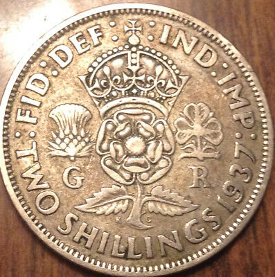 1937 Uk Gb Great Britain Two Shillings .500 Silver