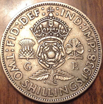 1938 Uk Gb Great Britain Two Shillings .500 Silver
