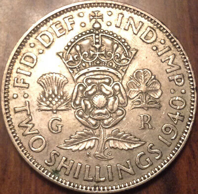 1940 Uk Gb Great Britain Two Shillings .500 Silver