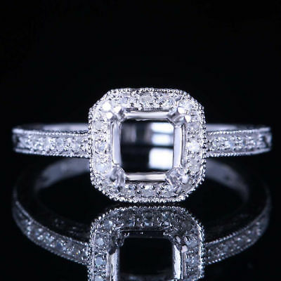 Solid 10K White Gold 6mm Round Cut Engagement Diamonds Ring Sets size 6.5