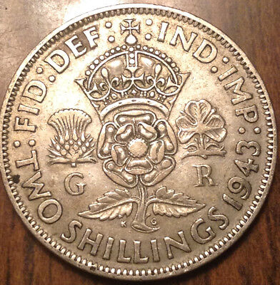1943 Uk Gb Great Britain Two Shillings .500 Silver