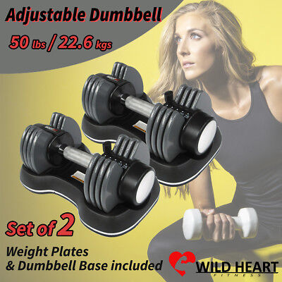 Adjustable Dumbbell Weight Set of 2 50 lbs 22.6 kgs Home Gym Fitness Power Exerc