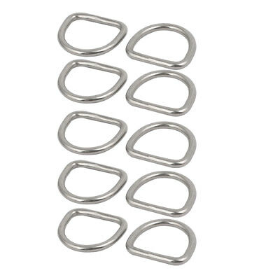 3mmx20mmx17mm 304 Stainless Steel Flat Typed D Welded Ring Silver Tone 10pcs