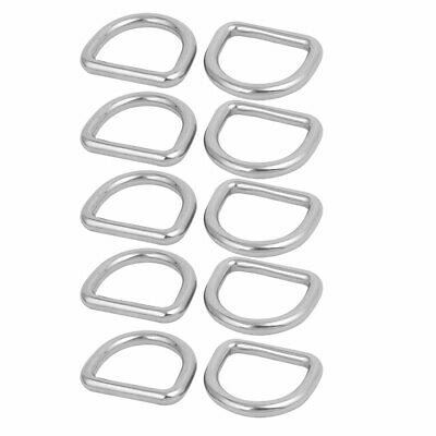 6mmx30mmx27mm 304 Stainless Steel Flat Typed D Welded Ring Silver Tone 10pcs