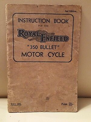 Royal Enfield 350 Bullet Motorcycle Instruction Book Owners manual July 1950