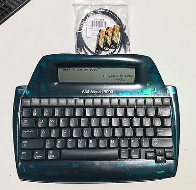ALPHASMART 3000 Portable Word Processor TESTED with USB Cable & FRESH Batteries