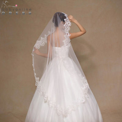 Cheapest White Ivory 1 Layer Lace Appliqued Edge Elbow Length Bridal Veils New