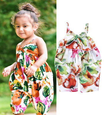 Cute Toddler Girls Sleeveless Leaves Romper Jumpsuit Bodysuit Clothes Outfits