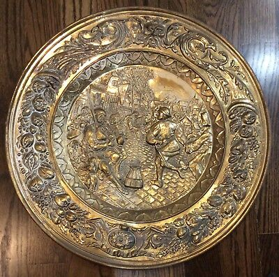 Vintage Large Brass Wall Hanging Plate Platter 22 1/2""