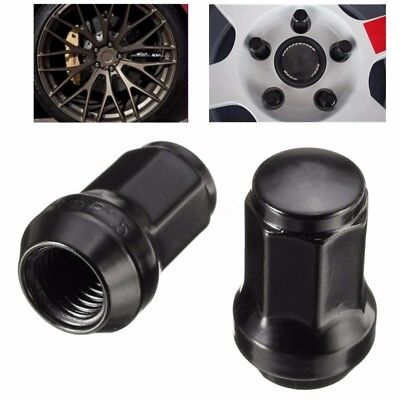 20PCS 12x1.5 Lug Nuts With Key | Cone Seat | Long Closed End | Black