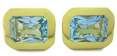 Natural Gem Stone Blue Topaz 925 Sterling Silver Vermiel Men's Cufflink Jewelry