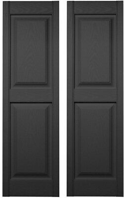 Exterior Shutters Window Vinyl 15 x 80 in. Black Pair Panel Outdoor Hardware Set