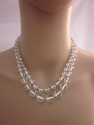True Vintage ART DECO Clear Faceted Crystal Bead  Double Strand  Necklace