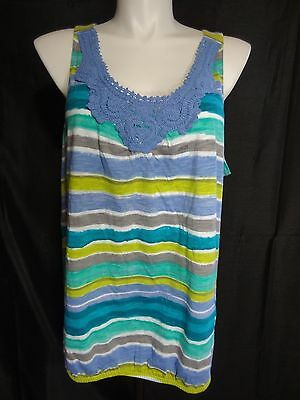 a073651025530 LANE BRYANT SLEEVELESS striped Tank Top plus size 26 28 w crochet ...