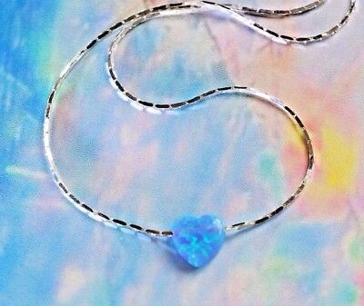 "OPAL HEART Fire Blue solid 925 Sterling Silver Necklace dainty ""play of color"""