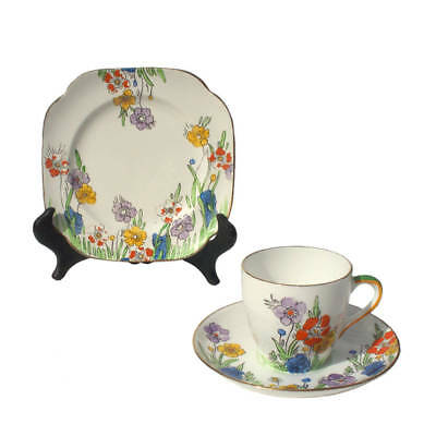 Vintage 1930s Doric Art Deco China Trio Coffee Demitasse Set Hand Painted Floral