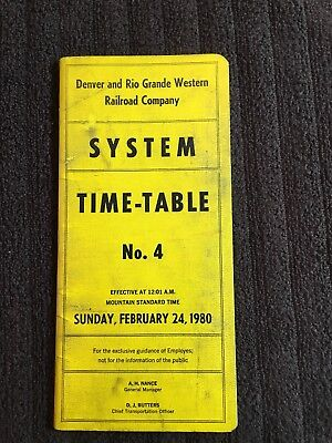 Denver And Rio Grande Western Railroad Company Employee Timetable