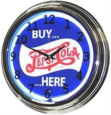 "Retro 17"" Blue Neon Buy Pepsi Cola Here Soda Man Cave Game Room Sign Wall Clock"