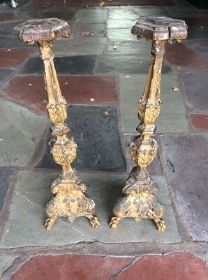 """Antique Pair Of 18th Century Gothic Carved Wood Gilt Pricket Candlesticks 21"""""""
