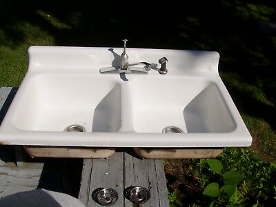 Vtg Cast Iron White Porcelain Double Basin Kitchen Sink American Standard